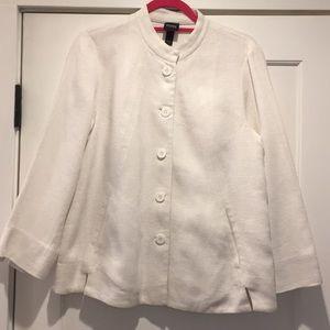 Eileen Fisher white linen structured jacket